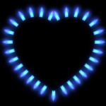 Gas flames in the shape of a heart